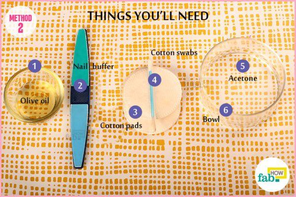 एसीटोन के इस्तेमाल से ऐक्रेलिक नाखून हटाने के लिए आवश्यक सामग्री