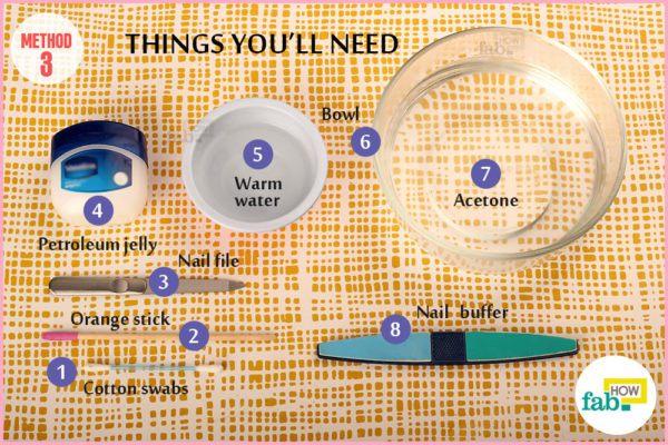 गर्म एसीटोन के इस्तेमाल के लिए आवश्यक सामग्री