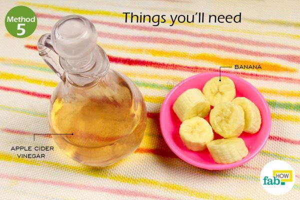 विधि 5: केला और सेब के सिरके का हेयर पैक द्वारा रूसी से तुरंत छुटकारा पाने के लिए आवश्यक सामग्री