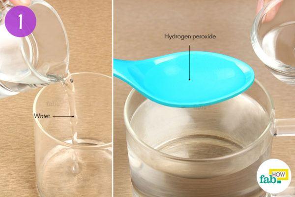 पानी में हाइड्रोजन परॉक्साइड डालिए
