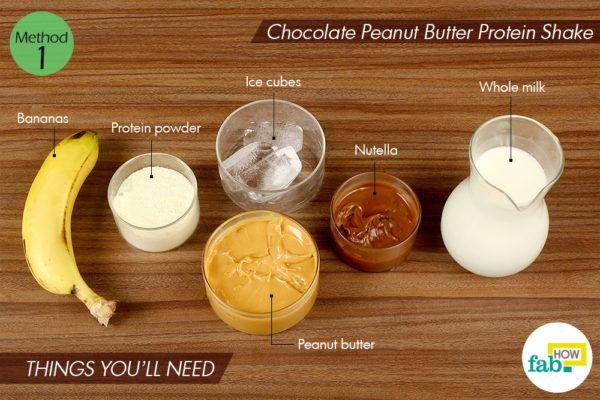 चॉकलेट-पीनट बटर प्रोटीन शेक बनाने के लिए आवश्यक सामग्री