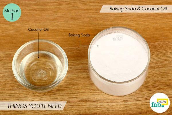 बेकिंग सोडा और नारियल तेल से दांतों का पीलापन दूर करने के लिए आवश्यक सामग्री