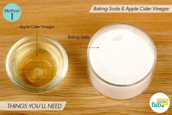बेकिंग सोडा और सेब के सिरके से दांतों का पीलापन दूर करने के लिए आवश्यक सामग्री