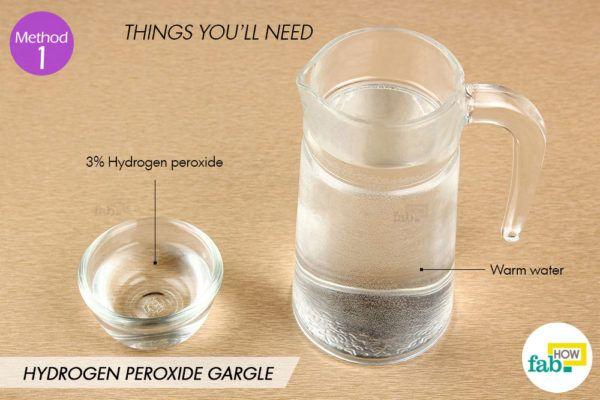 हाइड्रोजन परॉक्साइड के पानी से गरारा करने के लिए आवश्यक सामग्री