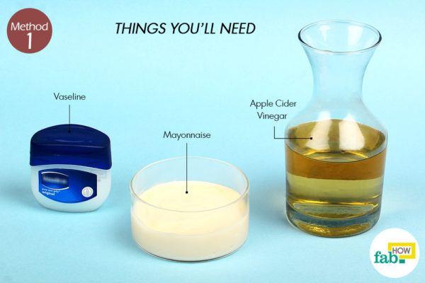 म्योनीज, वैसलीन और सेब के सिरके द्वारा सिर की जूं से छुटकारा के लिए आवश्यक सामग्री