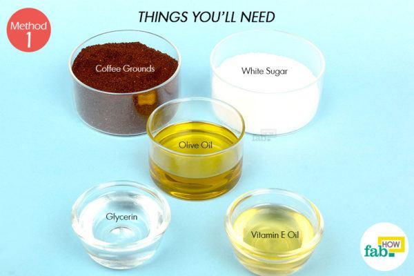कॉफ़ी स्क्रब द्वारा सेल्युलाईट से छुटकारा पाने के लिए आवश्यक सामग्री