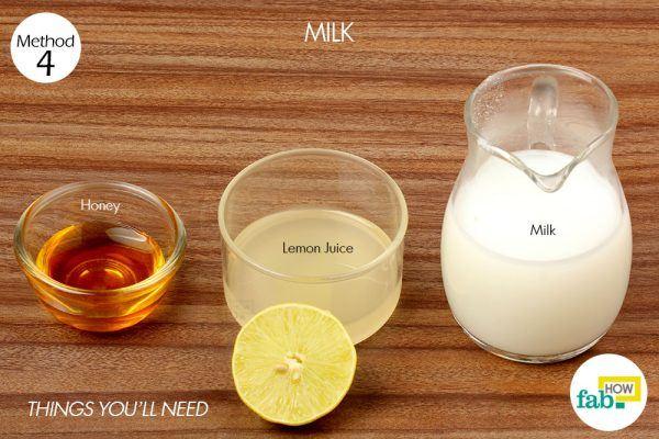 दूध द्वारा सनटैन हटाने के लिए आवश्यक सामग्री