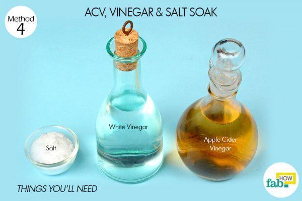 सफ़ेद सिरका, सेब का सिरका और नमक के इस्तेमाल के लिए आवश्यक सामग्री