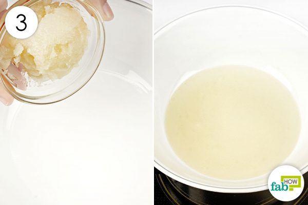 3 बाउल (हीट-सेफ) में पदार्थ को डालिए