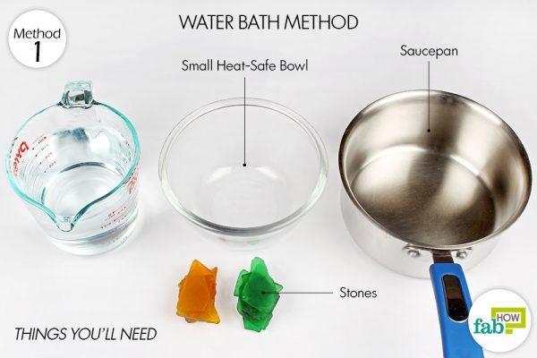 विधि 1-वाटर बाथ विधि द्वारा डबल बॉयलर बनाने कीआवश्यक सामग्री