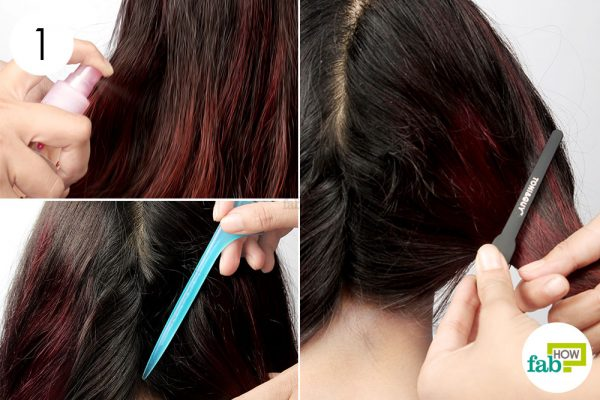 बालों पर पानी का स्प्रे करके गीला कीजिये