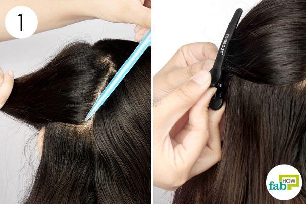 नोकदर कंघी की सहायता से बालों के कई भाग कर लीजिये