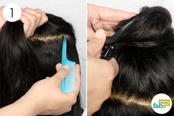 नोकदार कंघी की सहायता से बालों को तीन भागों में कर लें