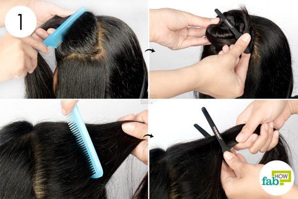 नोकदार कंघी की सहायता से बालों के कई भाग कर लें
