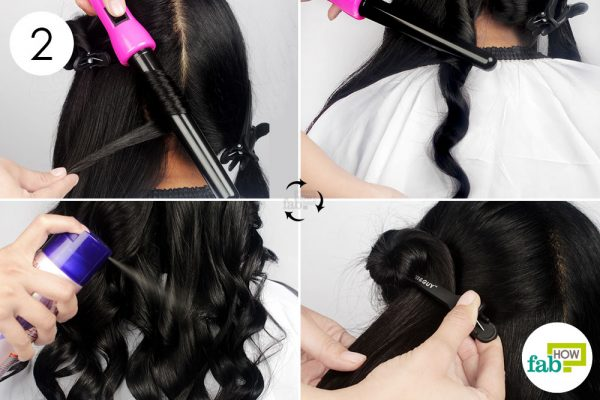 कर्लिंग वान्ड से बालों के भागों को कर्ल कीजिये