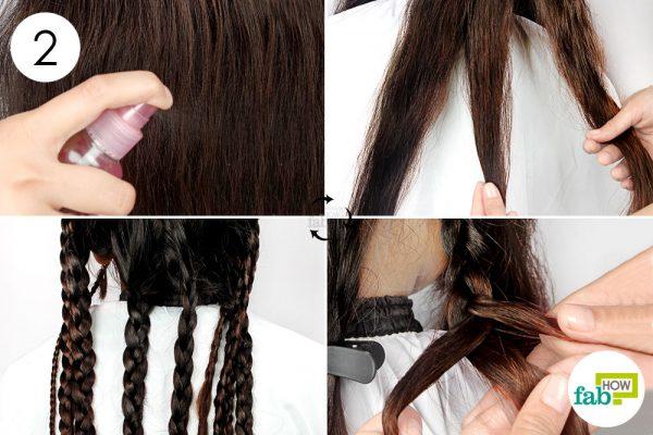 बालों पर हल्का-सा पानी का स्प्रे करके गीला कीजिये