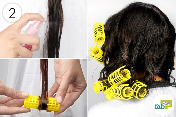 रोलर्स में बालों को रोल कीजिये