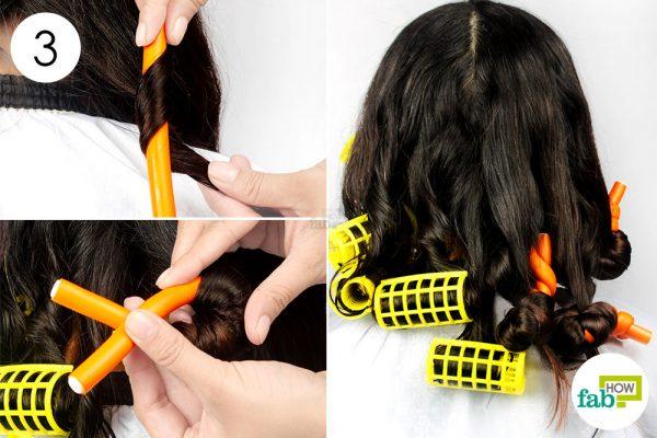 बालों को फ्लेक्सी रॉड्स में फंसाइए