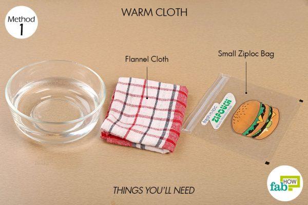 गीला गर्म सेंक (वेट वार्म कंप्रेस) बनाने के लिए आवश्यक सामग्री