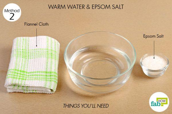 एप्सम साल्ट से गर्म सेंक (वार्म कंप्रेस) बनाने के लिए आवश्यक सामग्री