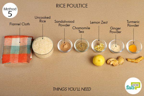 चावल के इस्तेमाल से जड़ी बूटियों वाला गर्म सेंक (हर्बल वार्म कंप्रेस) बनाने के लिए आवश्यक सामग्री