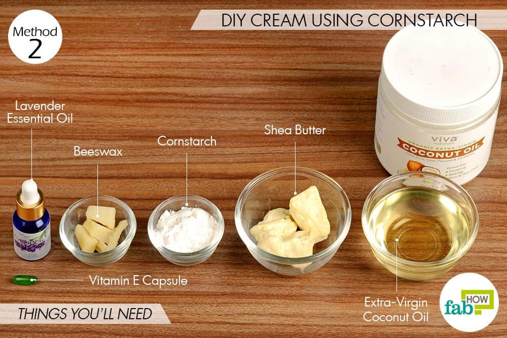 कॉर्नस्टार्च (मकई का आटा) से डायपर रैश क्रीम बनाने के लिए आवश्यक सामग्री