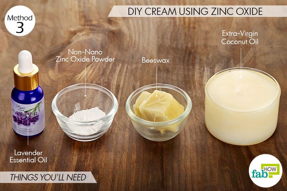 जिंक ऑक्साइड से डायपर रैश क्रीम बनाने के लिए आवश्यक सामाग्री