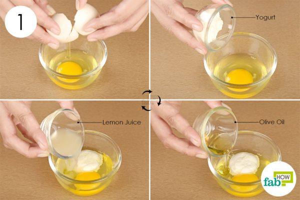 योगर्ट, ऑलिव ऑयल और नींबू के रस को अंडे में डालें