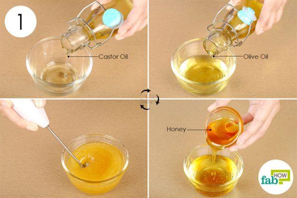 जैतून के तेल और शहद को कैस्टर ऑयल में डालें