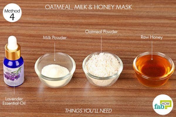 विधि 4. ओटमील, दूध और शहद का फेस पैक बनाने के लिए आवश्यक सामग्री