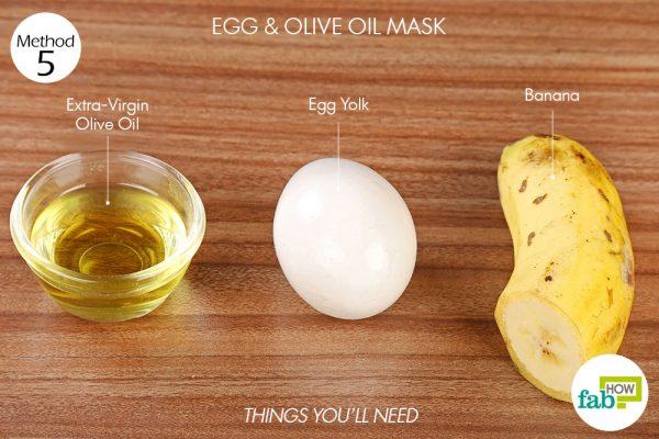 विधि 5. अंडे और जैतून के तेल का फेस पैक बनाने के लिए आवश्यक सामग्री