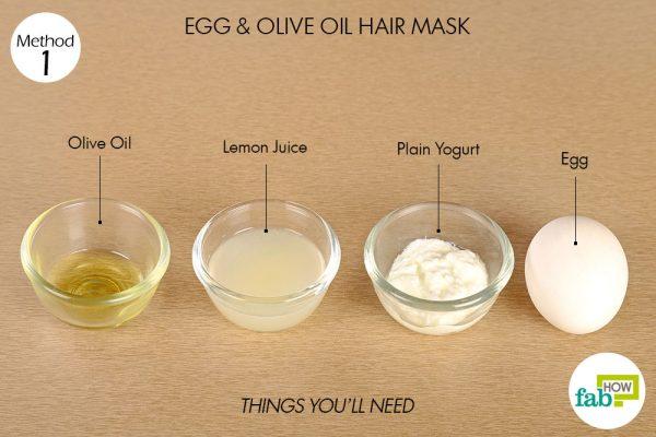 अंडे और ऑलिव ऑयल का हेयर पैक बनाने के लिए आवश्यक सामग्री