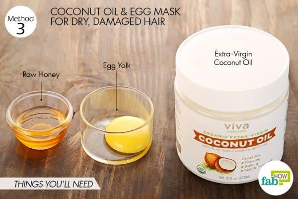 नारियल तेल और अंडे से हेयर पैक बनाने के लिए आवश्यक सामग्री