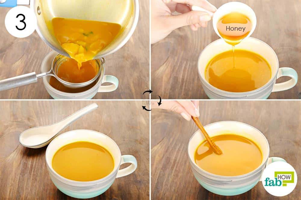 तैयार सूप को छान लें और शहद मिलाकर सेवन करें