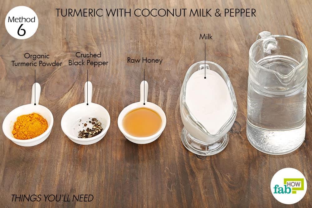 हल्दी के साथ नारियल दूध के सेवन के लिए आवश्यक सामग्री