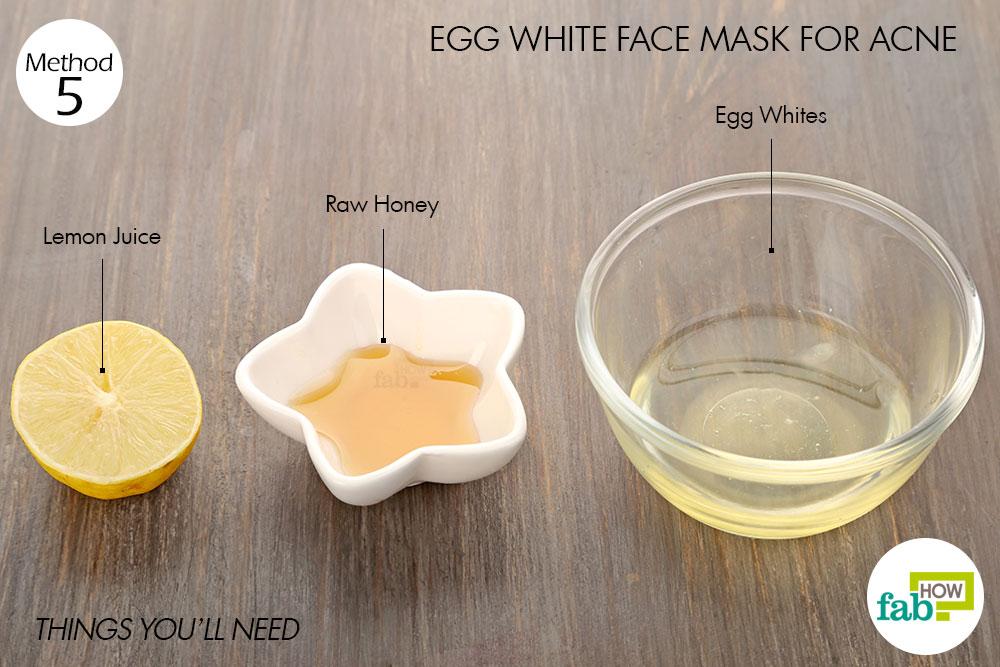 चेहरे के मुंहासों को खत्म करने के लिए अंडे के सफेद भाग से फेस पैक बनाने के लिये आवश्यक सामग्री