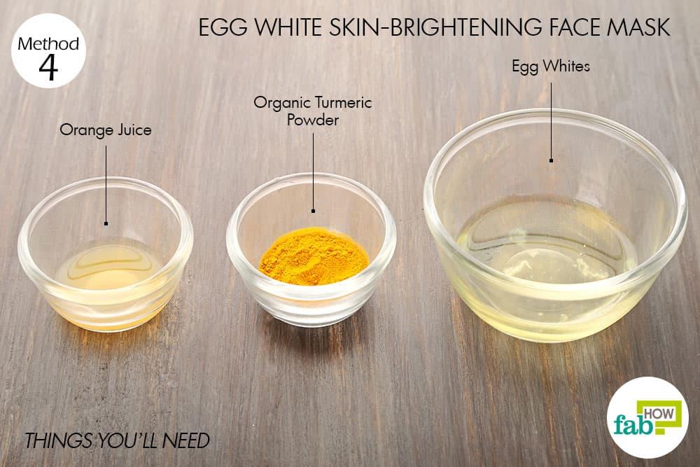 त्वचा को चमकदार बनाने के लिए अंडे के सफ़ेद भाग से फेस पैक बनाने के लिए आवश्यक सामग्री