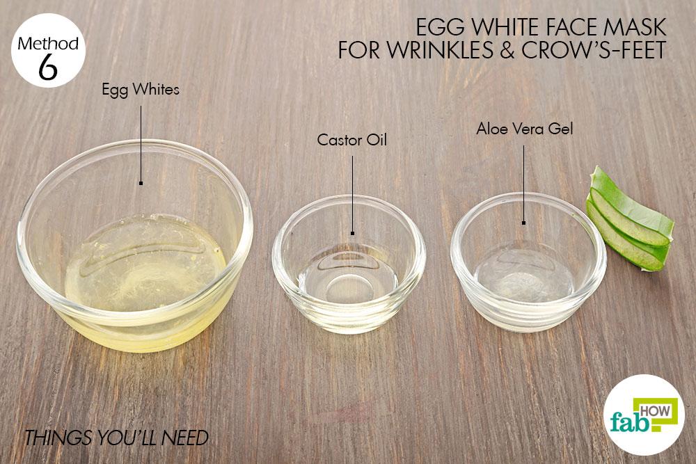 झुर्रियों और आँखों के किनारों की गहरी रेखाओं के लिए अंडे के सफेद भाग का फेस पैक बनाने के लिए आवश्यक सामग्री