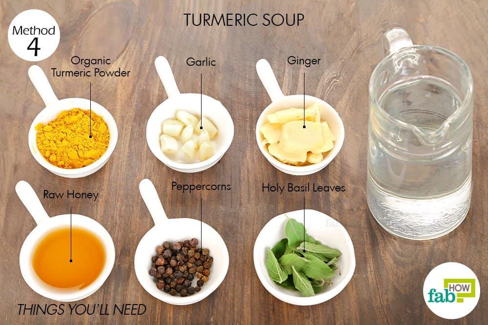 हल्दी का सूप बनाने के लिए आवश्यक सामग्री