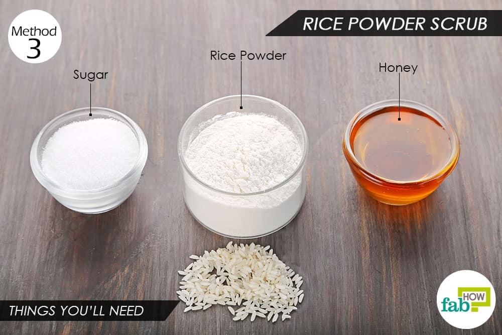 चावल के आटे का स्क्रब बनाने के लिए आवश्यक सामाग्री