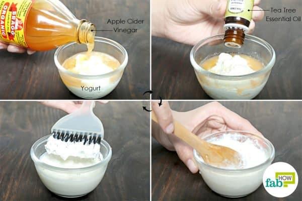 सेब का सिरका, दही और टी-ट्री तेल के मिश्रण लगाये