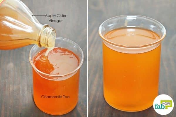 सेब का सिरका और कैमोमाइल के मिश्रण से बालों को धो लें