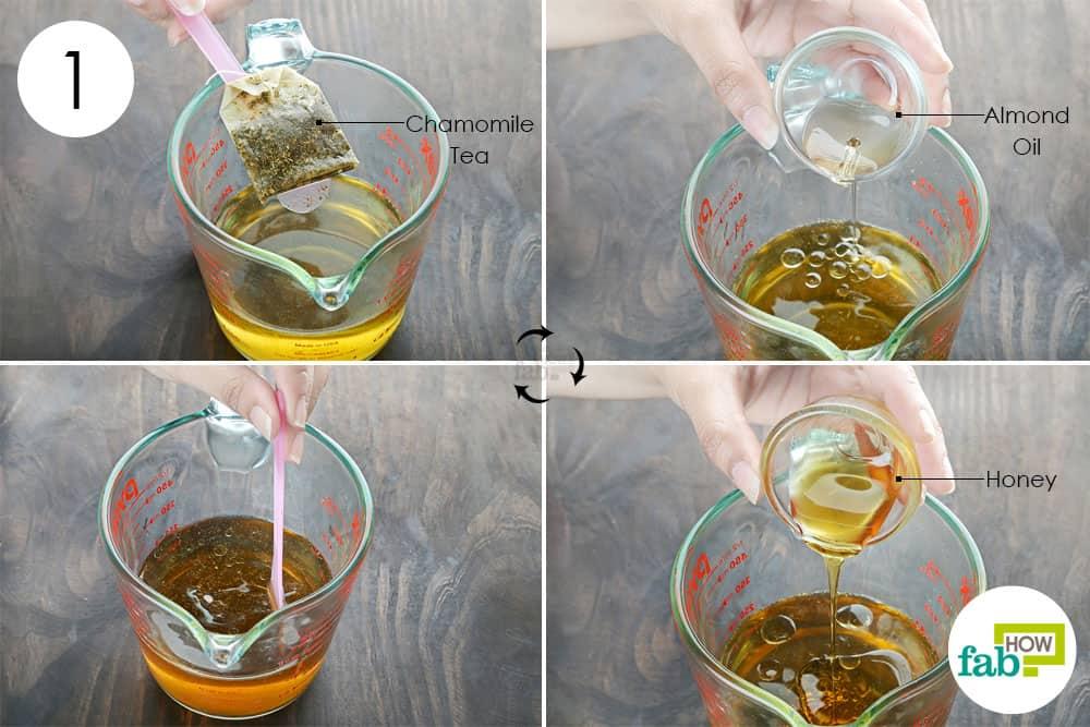 कैमोमाइल की चाय में बादाम का तेल और शहद डालें