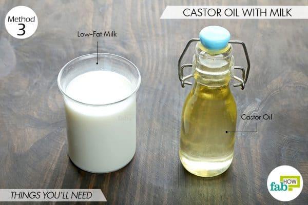 विधि 3-आवश्यक सामग्री-दूध और कैस्टर ऑयल के सेवन के लिए