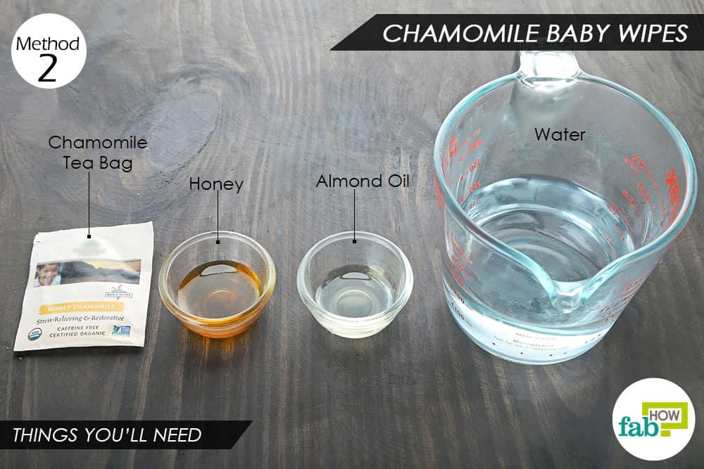 कैमोमाइल की चाय से बेबी वाइप्स बनाने के लिए आवश्यक सामग्री