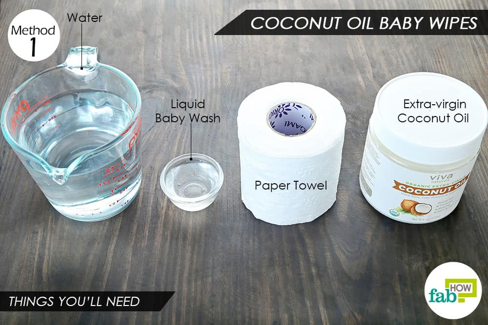 नारियल तेल से बनी बेबी वाइप्स बनाने के लिए आवश्यक सामग्री