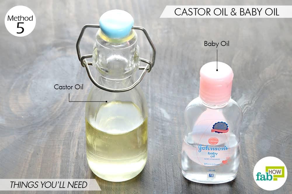 कैस्टर ऑयल और बेबी ऑयल का मिश्रण बनाने की आवश्यक सामग्री